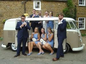 Fun in VW split screen wedding camper Jodi