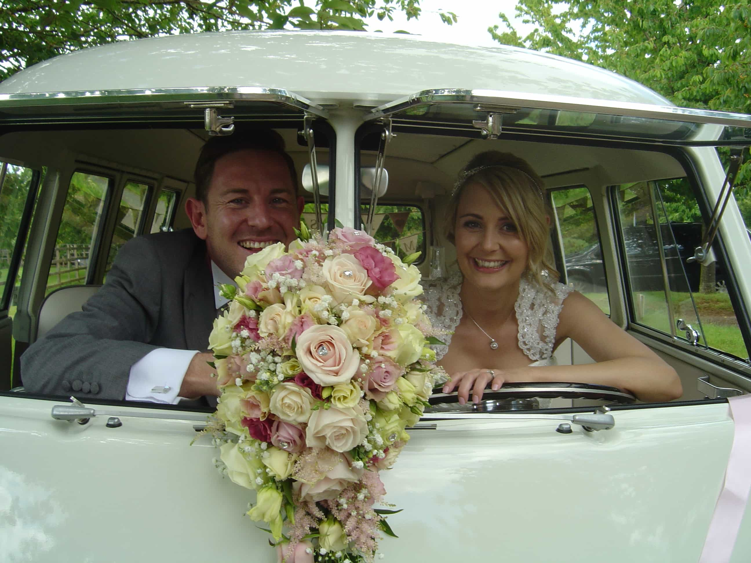 Abbe and Jodi split screen wedding campervans Northampton
