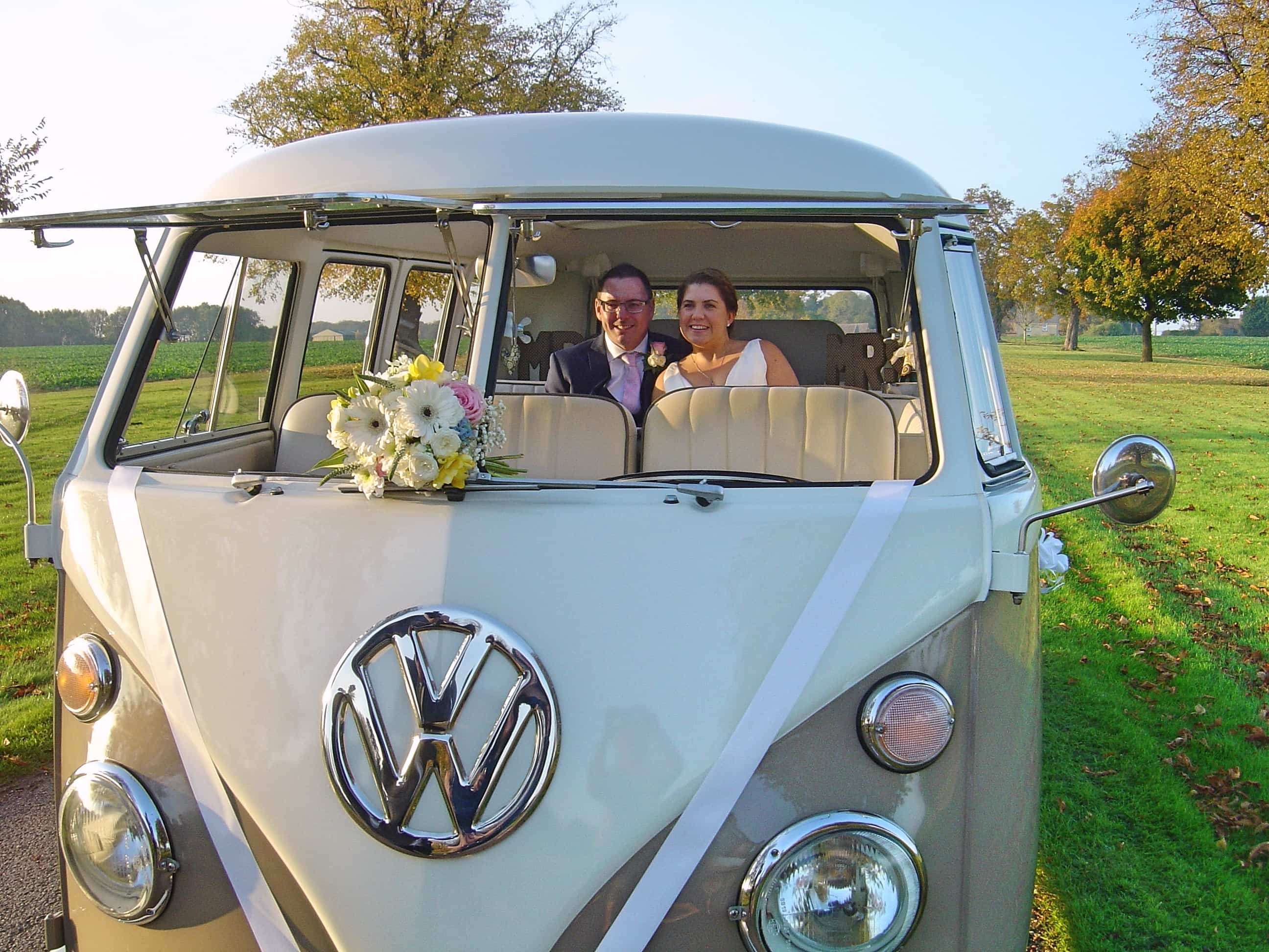 VW split screen wedding camper Jodi with fantastic full size sunroof Silk and Satin Weddings Northamptonshire