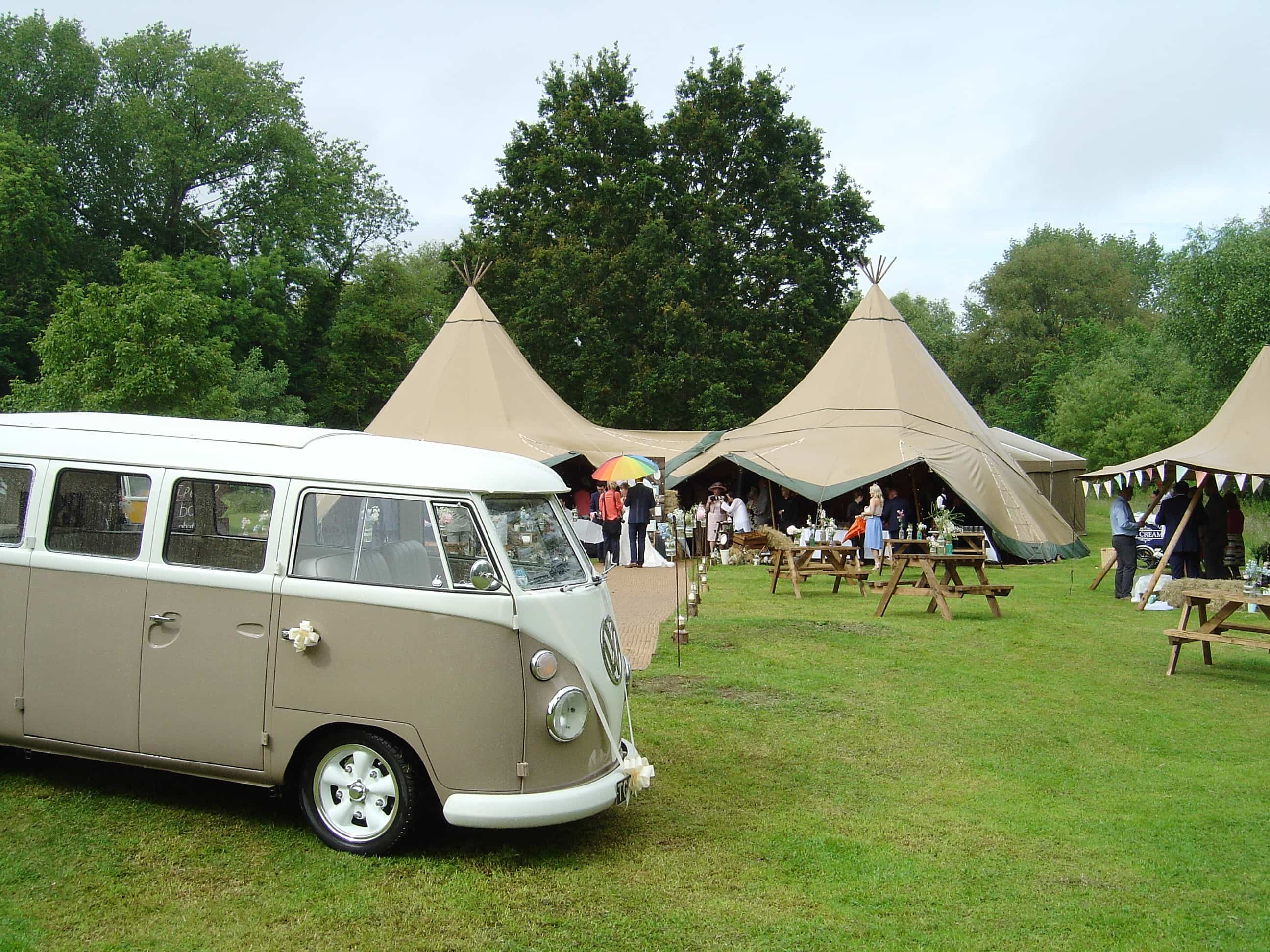 VW splitscreen wedding campervan Silk and Satin Weddings Northampton